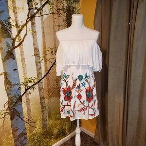 LULUS | Colorful Embroidery White Mini Dress